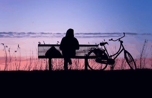 Polkupyörä ja iltarusko